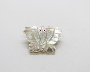 Vintage Carved Mother of Pearl Moth Butterfly Brooch | Whispering City RVA