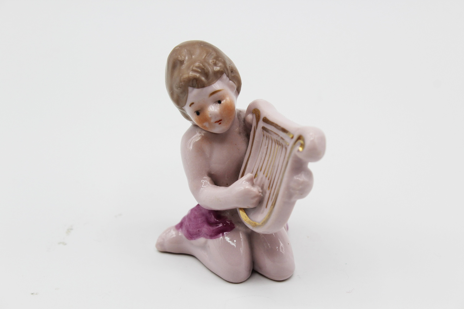 Vintage Miniature Boy w/ Lyre Harp Porcelain Figurine   Whispering City RVA