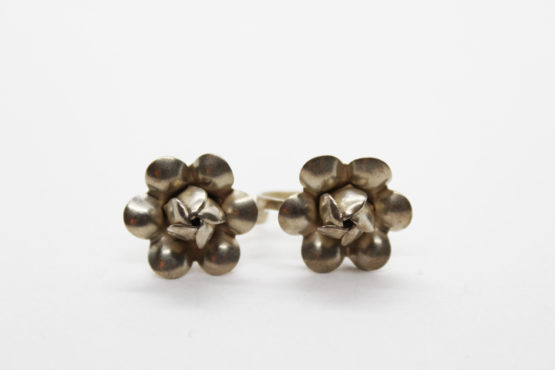 Vintage sterling silver floral screw back earrings at Whispering City RVA