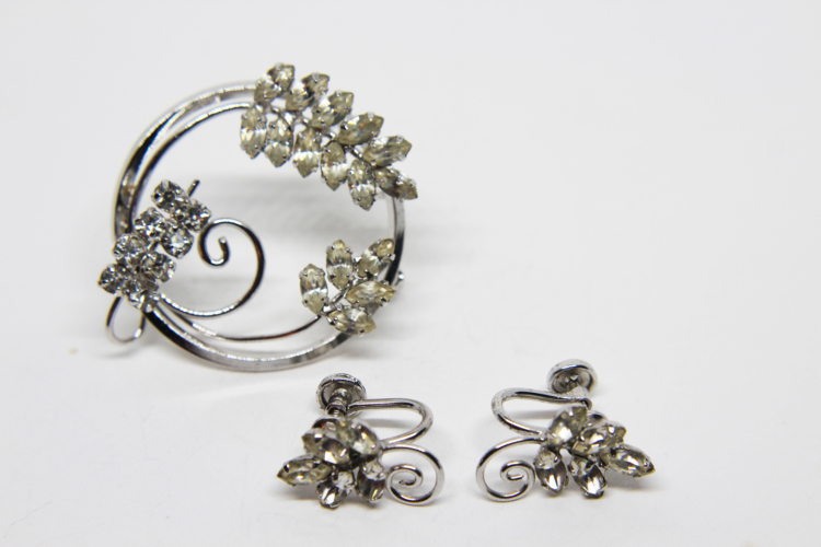Vintage D'or Sterling Silver Rhinestone Earring & Brooch Set   Whispering City RVA
