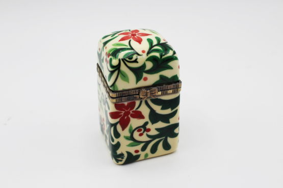 Vintage Small Poinsettia Flower Porcelain & Brass Trinket Box | Whispering City RVA