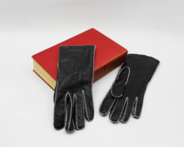 Vintage Grandoe Ladies Gloves Black Leather Bracelet Length Size 7 | Whispering City RVA