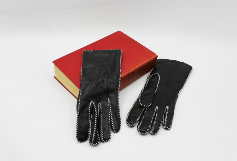 Vintage Grandoe Ladies Gloves Black Leather Bracelet Length Size 7 | Whispering City RVA
