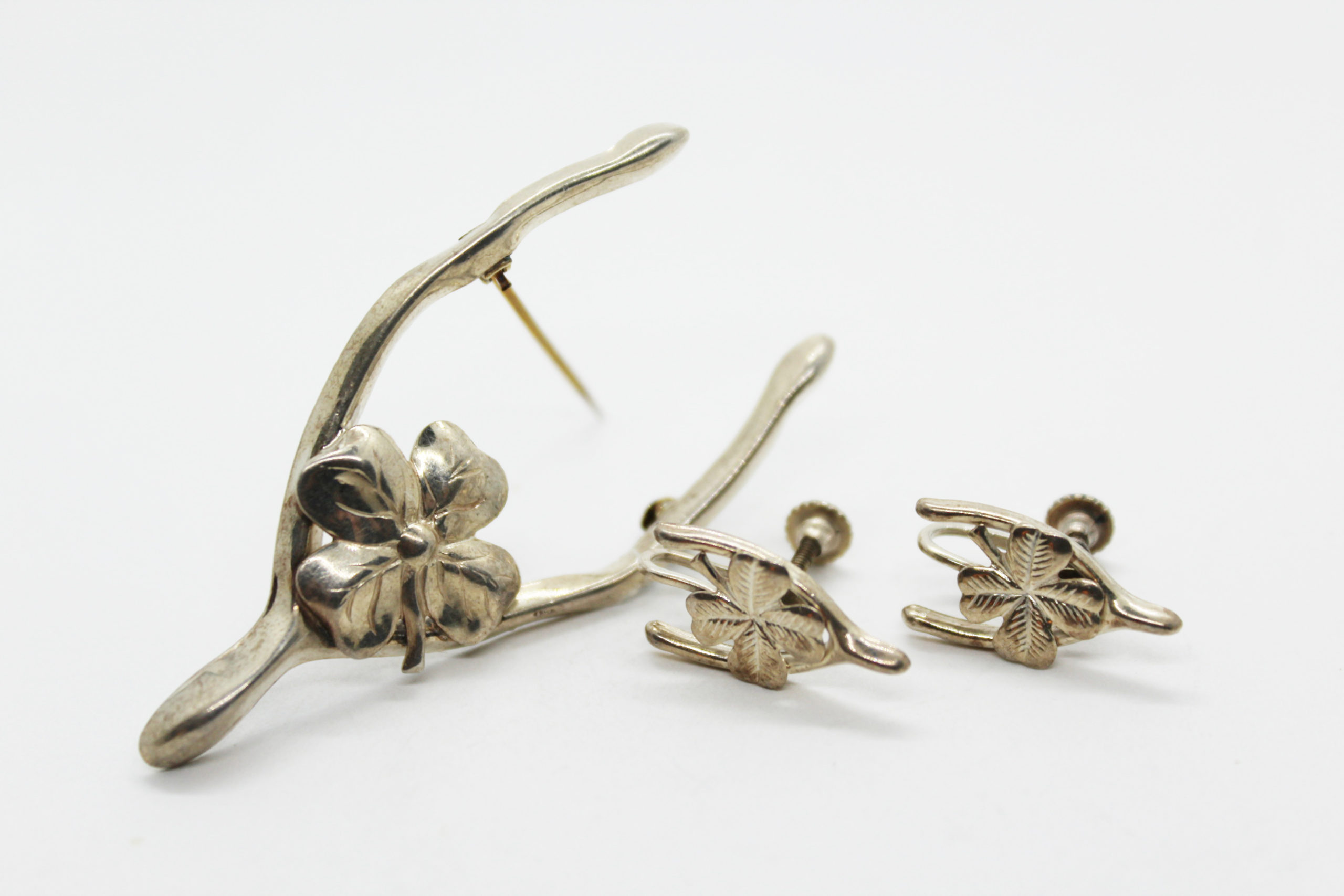Vintage Sterling Silver Wishbone Shamrock Jewelry Set at Whispering City RVA
