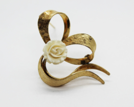 Vintage Winard 12K Gold Filled Celluloid Rose Heart Brooch | Whispering City RVA