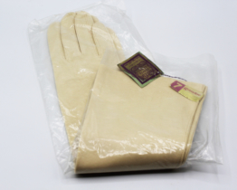 Vintage Grandoe Ladies Gloves Cream Cotton Below-Elbow Length Size 7 | Whispering City RVA
