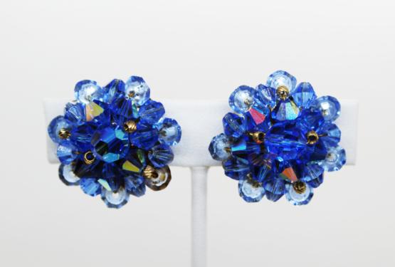 Vintage Blue AB Crystal Earrings at Whispering City RVA