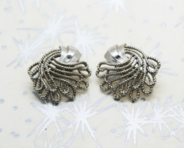 Vintage Crown Trifari Silver Tone Swirl Clip On Earrings at Whispering City RVA