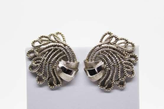 Vintage Crown Trifari Silver Tone Swirl Clip On Earrings at Whispering City RVA