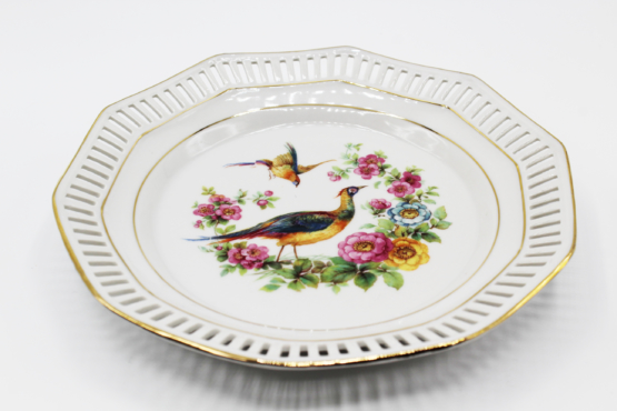 Antique Schumann Pierced Porcelain Pheasant Decorative Plate at Whispering City RVA