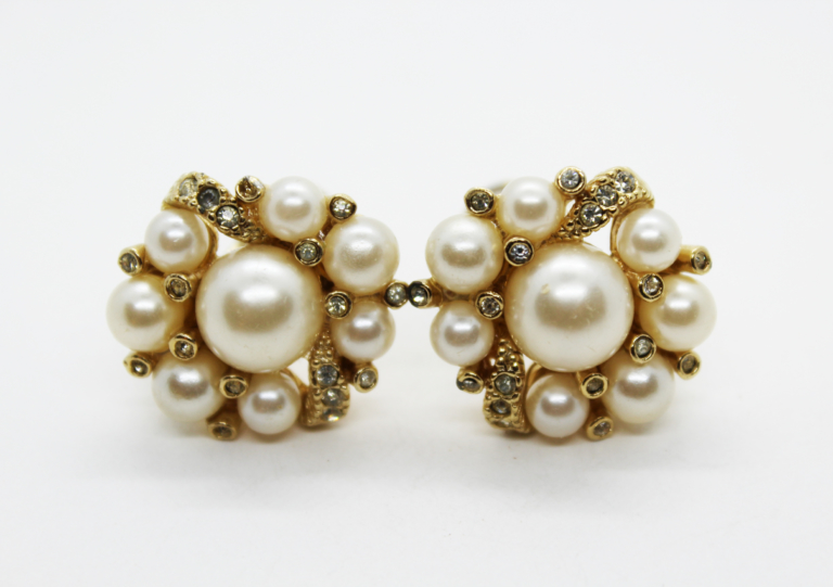Vintage Faux Pearl & Rhinestone Cluster Clip On Earrings at Whispering City RVA