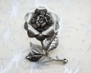 Vintage Silver-Tone Rose Brooch | Whispering City RVA
