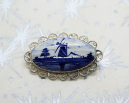 Vintage Ceramic & Silver Delft Windmill Brooch at Whispering City RVA