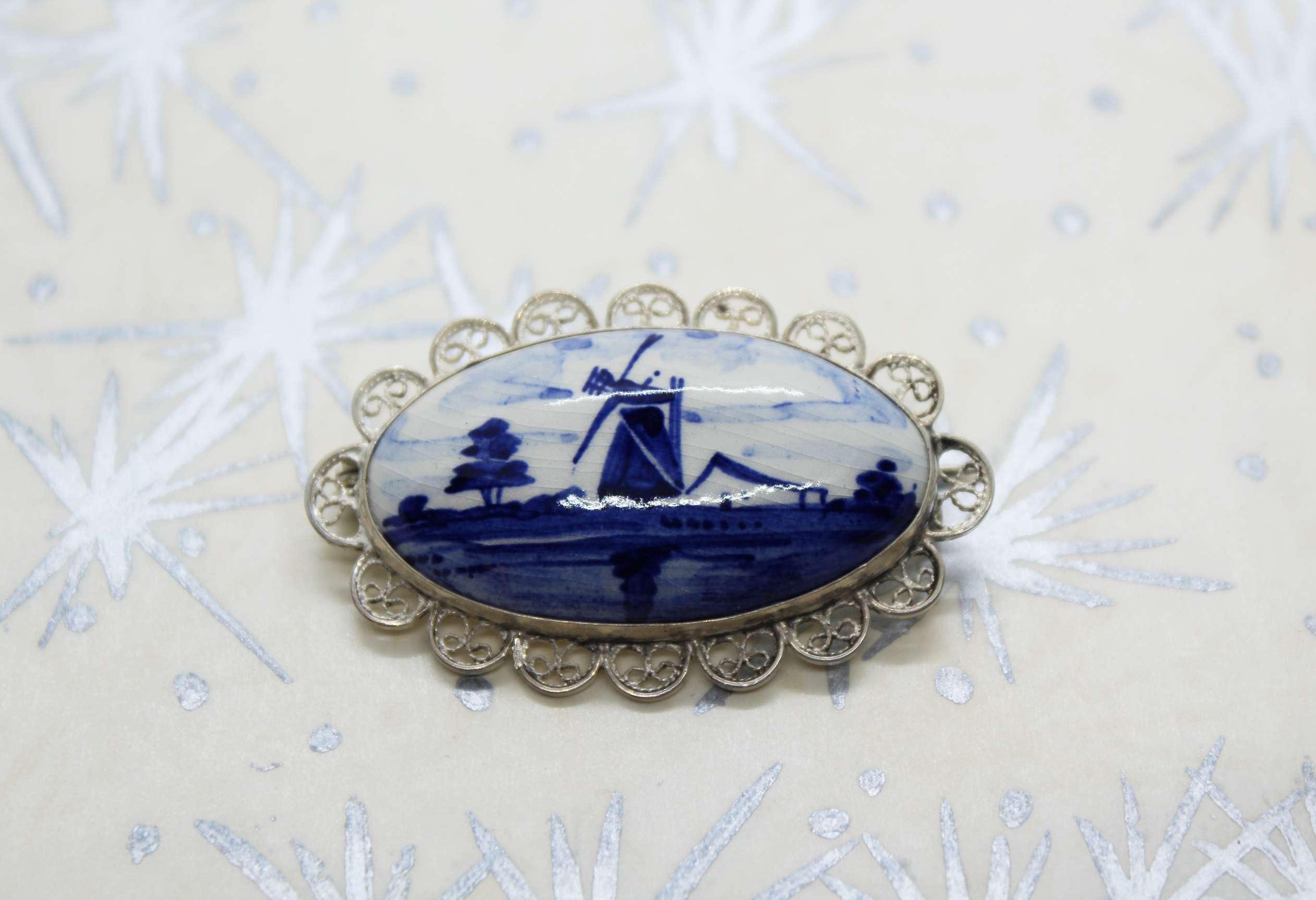 Vintage Ceramic & Silver Delft Windmill Brooch at Whispering City RVA