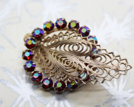 Vintage AB Crystal Silver Filigree Leaf Brooch at Whispering City RVA