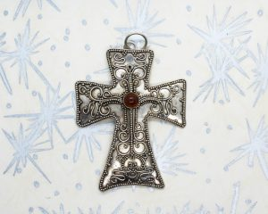 Vintage 925 Sterling Victorian Mourning Cross | Whispering City RVA