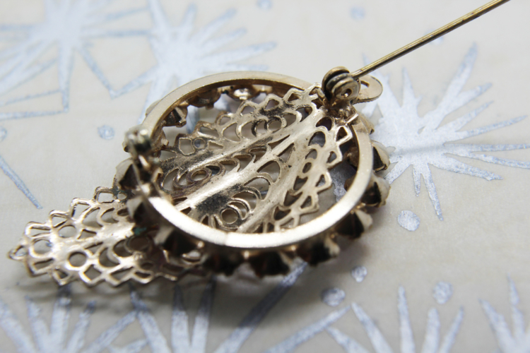 Vintage AB Crystal Silver Filigree Leaf Brooch at Whispering City RVA