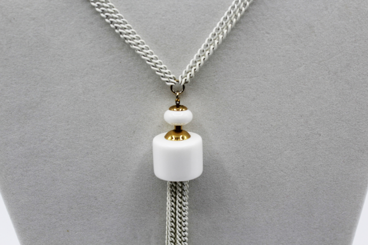 Vintage Monet 1960s White Tassel Necklace | Whispering City RVA