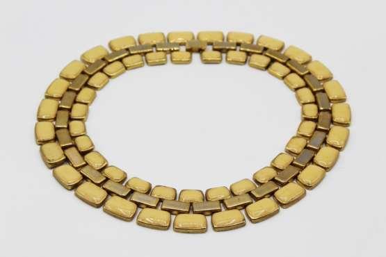 Vintage Gold Tone Yellow Enamel Collar Necklace   Whispering City RVA