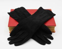 Vintage Grandoe Ladies Gloves Black Suede Bracelet Length | Whispering City RVA