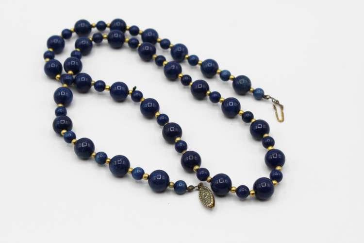 Vintage 24″ Blue Stone Bead Necklace | Whispering City RVA