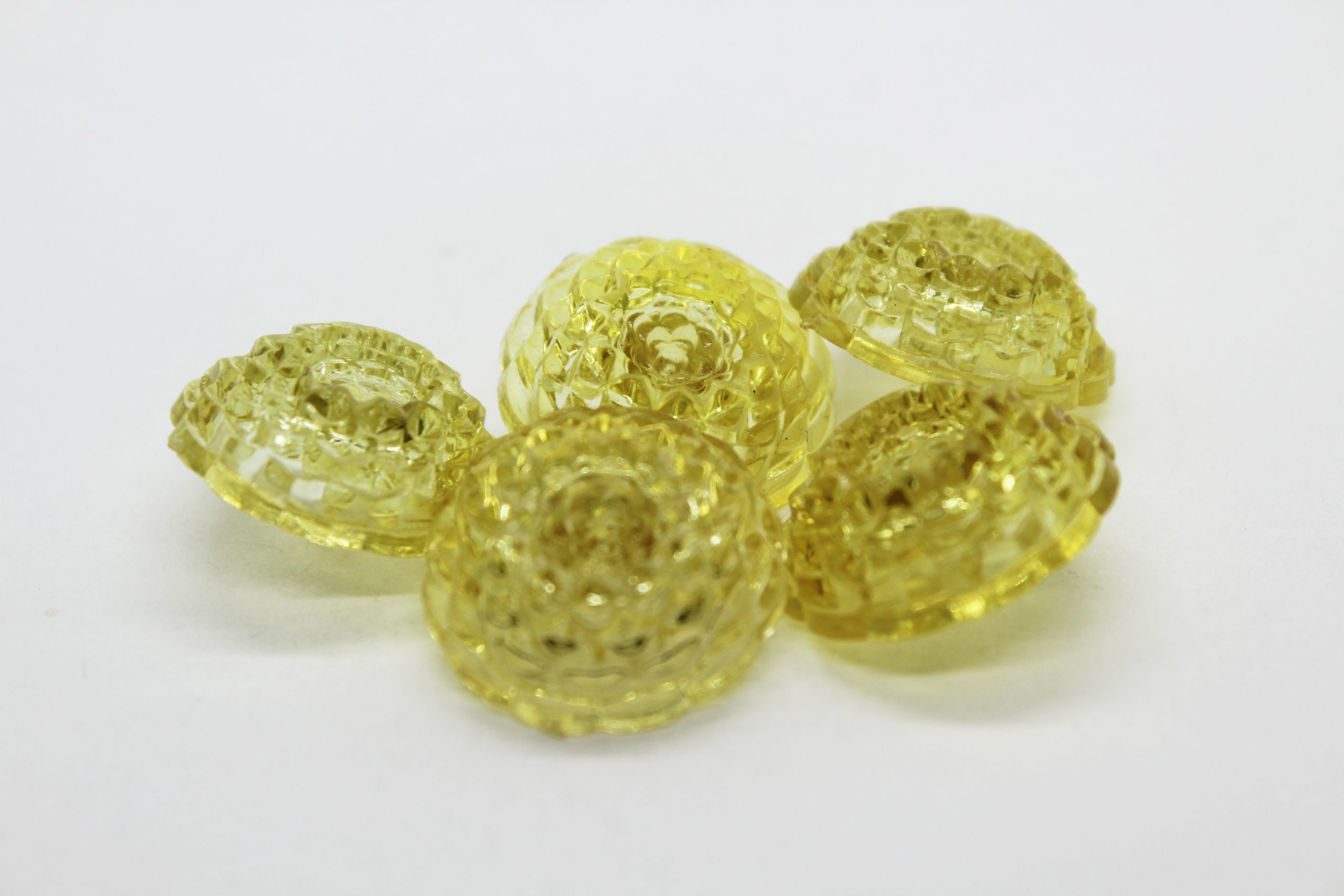 Vintage Metallic Yellow Lucite Dome Buttons – Set of 5 | Whispering City RVA