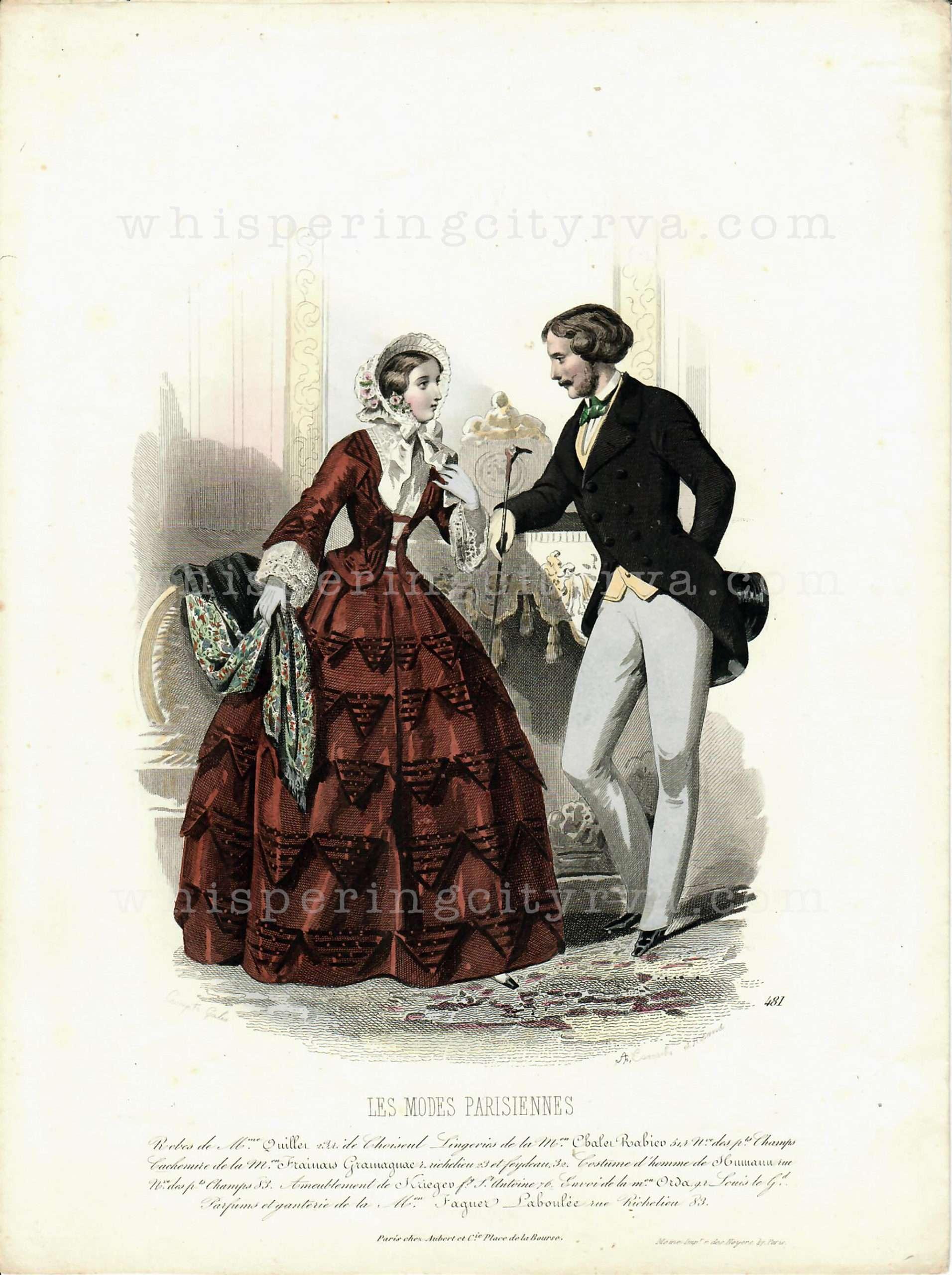 Antique Colored Engraving – Les Modes Parisiennes c. 1860 | Whispering City RVA