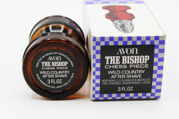 Vintage Avon The Bishop Chess Piece Amber After Shave Decanter Bottle | Whispering City RVA