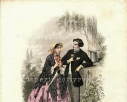 Antique Colored Engraving – Les Modes Parisiennes c. 1860   Whispering City RVA