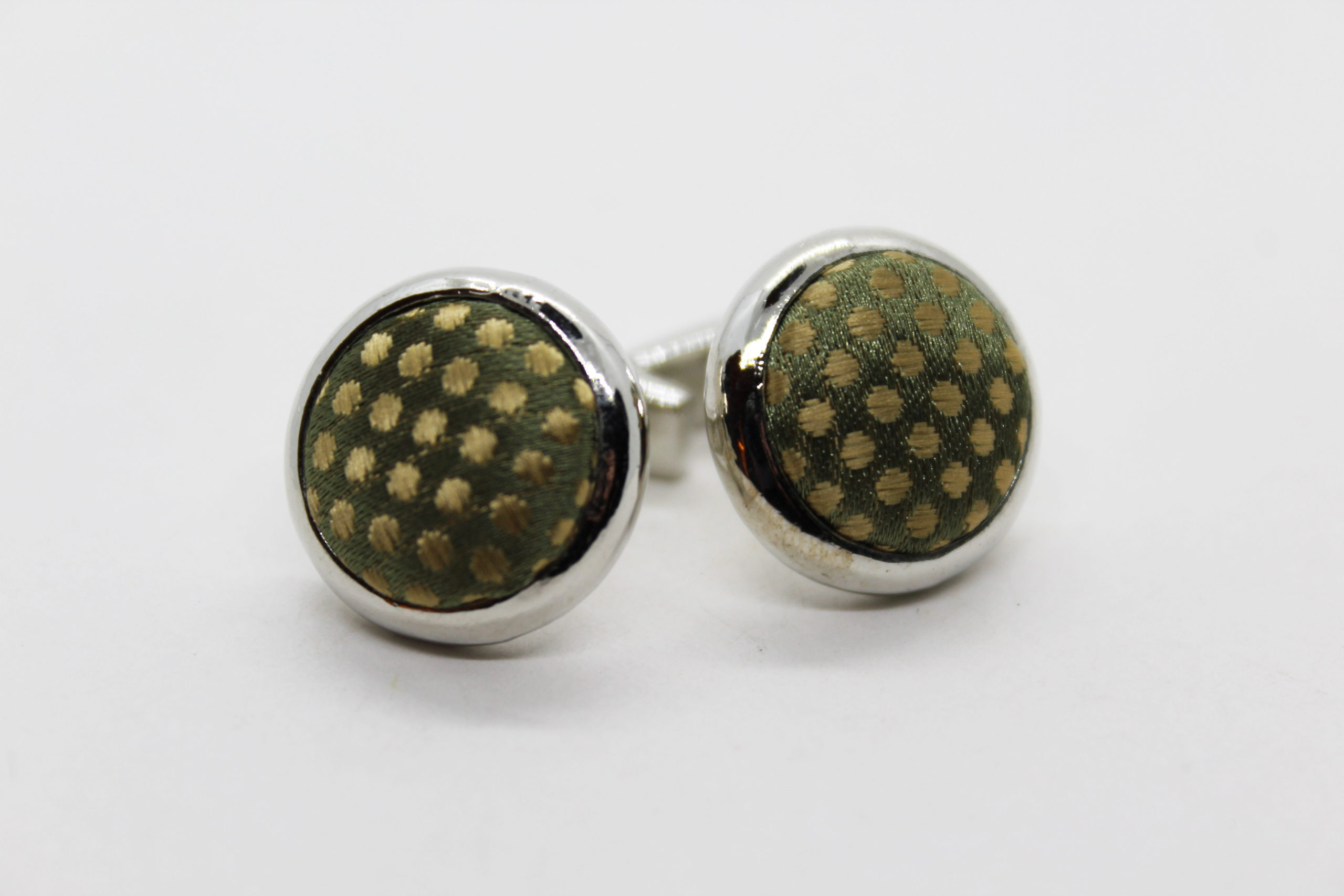 Vintage Handmade Fabric Geometric Cufflinks | Whispering City RVA