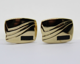 Vintage Gold Tone & Black Enamel Cufflinks | Whispering City RVA